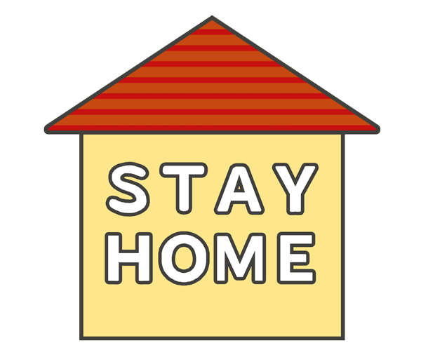 「STAY HOME」の文字イラスト