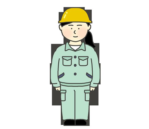 作業着を着ている女性のイラスト