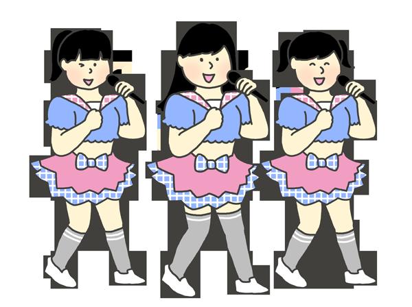 女性アイドルグループのイラスト