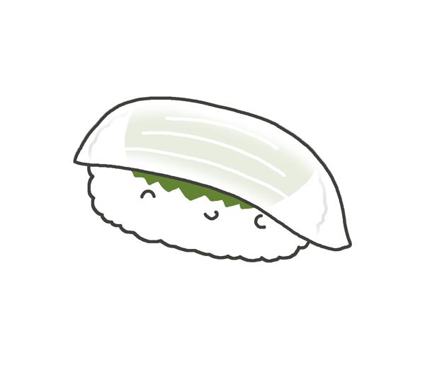 イカのお寿司のイラスト
