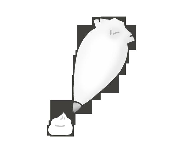 絞っている生クリームのイラスト
