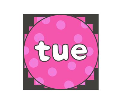 火曜日(tue)の文字イラスト(カラフル)