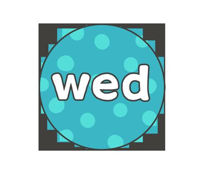 水曜日(wed)の文字イラスト(カラフル)