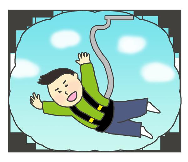 バンジージャンプのイラスト(男性)