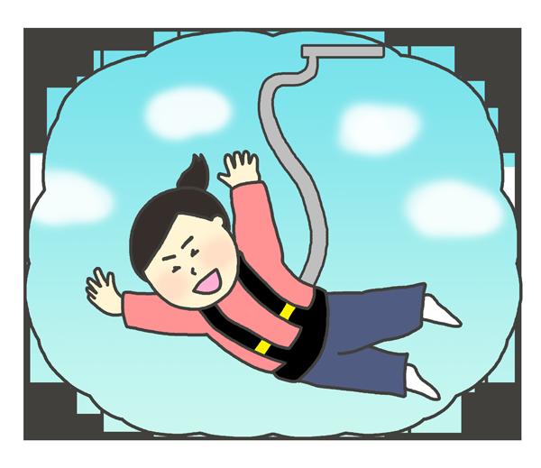 バンジージャンプをしている女性のイラスト