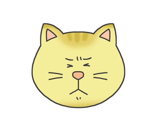 嫌気の表情をする猫のイラスト