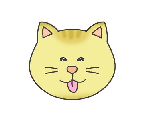 楽しそうな表情の猫のイラスト