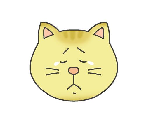 哀しそうな表情の猫のイラスト