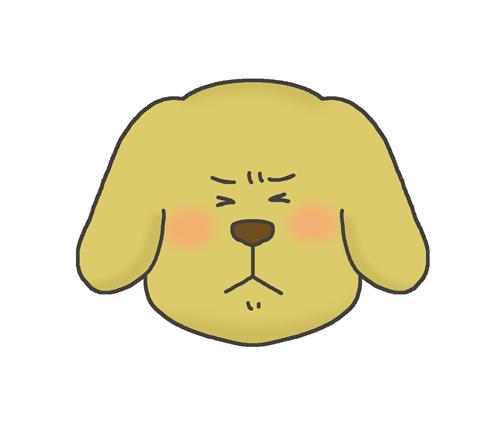 嫌気の表情をする犬のイラスト