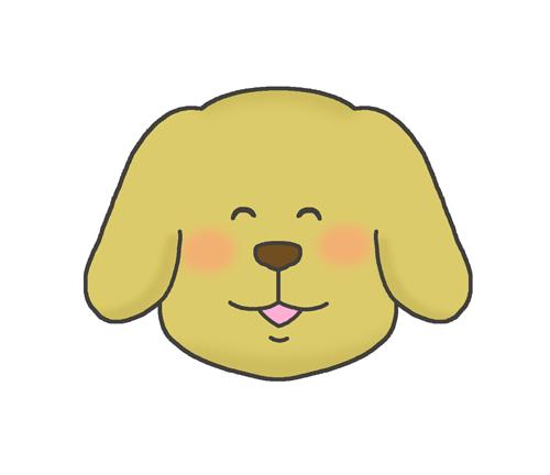 幸せそうな表情の犬のイラスト