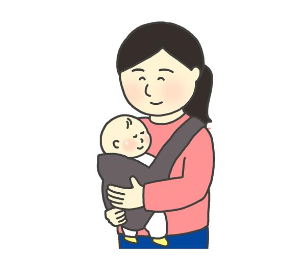 抱っこ紐を使って赤ちゃんを抱っこする女性のイラスト