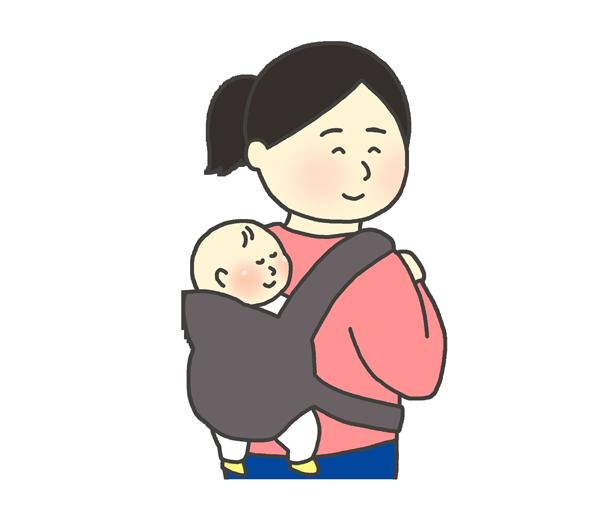 おんぶ紐を使って赤ちゃんをおんぶする女性のイラスト