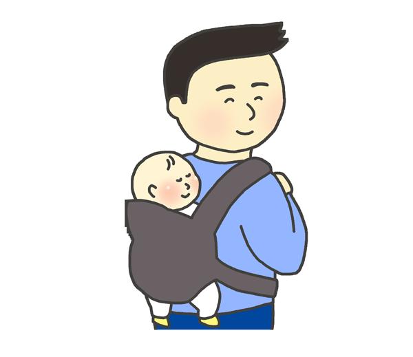 おんぶ紐を使って赤ちゃんをおんぶする男性のイラスト