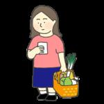 メモを見ながら買い出しをする女性のイラスト