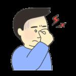 眼精疲労のイラスト(男性)