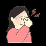 眼精疲労の女性のイラスト