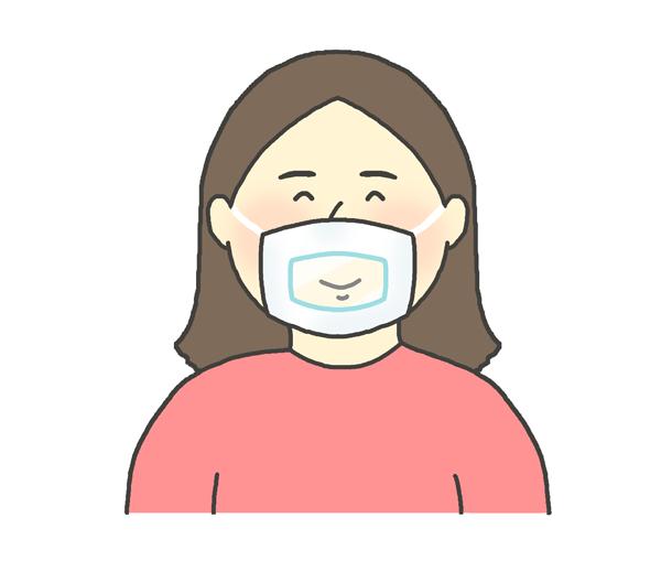 透明マスクをしている女性のイラスト