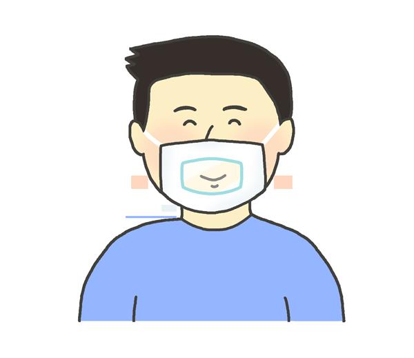 透明マスクをしている男性のイラスト