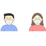透明マスクを着用している人のイラスト