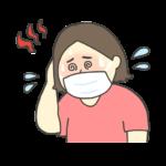 マスクを着用して熱中症になった女性のイラスト