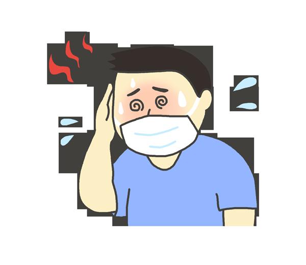 マスクを付けて熱中症になる男性のイラスト