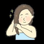 リンスをしている女性のイラスト
