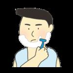 カミソリで髭を剃っている男性のイラスト