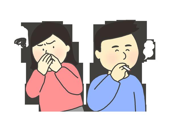 嫌煙家と喫煙者のイラスト
