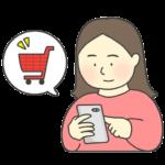 スマホでネット通販する女性のイラスト