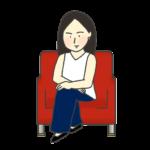 椅子に座る有名人のイラスト(女性)