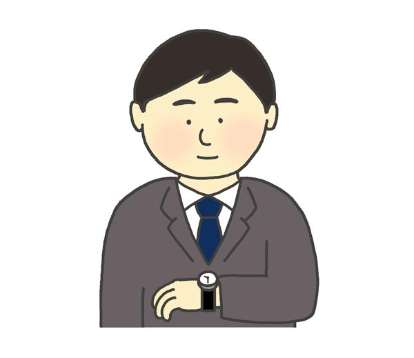 時計を見る男性のイラスト