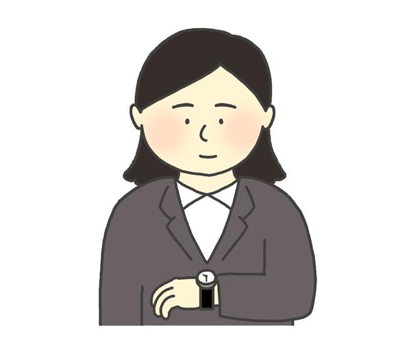 時計を見る女性のイラスト