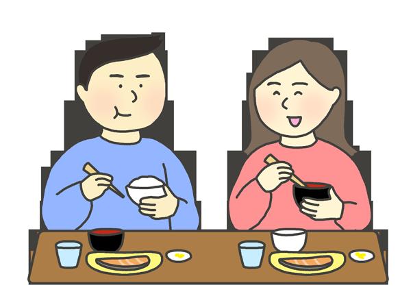 横並びに食事をする人たちのイラスト