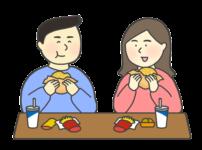 横並びに食事をする人たちのイラスト(ファーストフード)