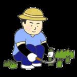 草むしりをする男性のイラスト