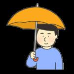 傘をさしている男性のイラスト