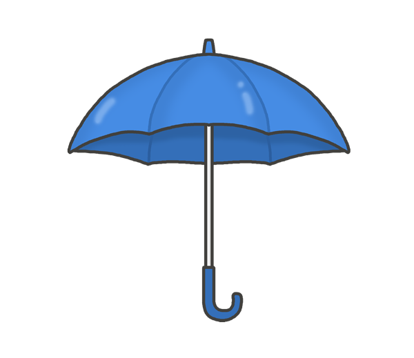 開いた状態の傘のイラスト