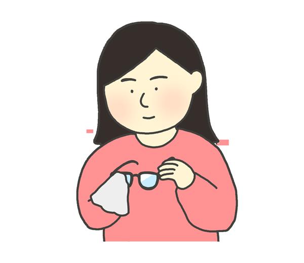 眼鏡を拭いている女性のイラスト