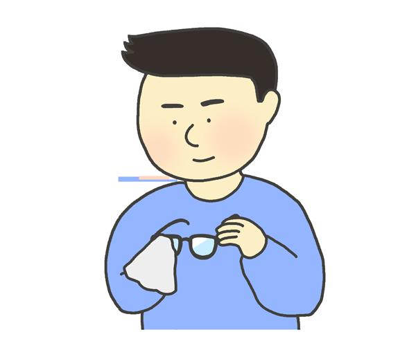 眼鏡を拭いている男性のイラスト