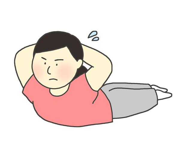 背筋をする女性のイラスト