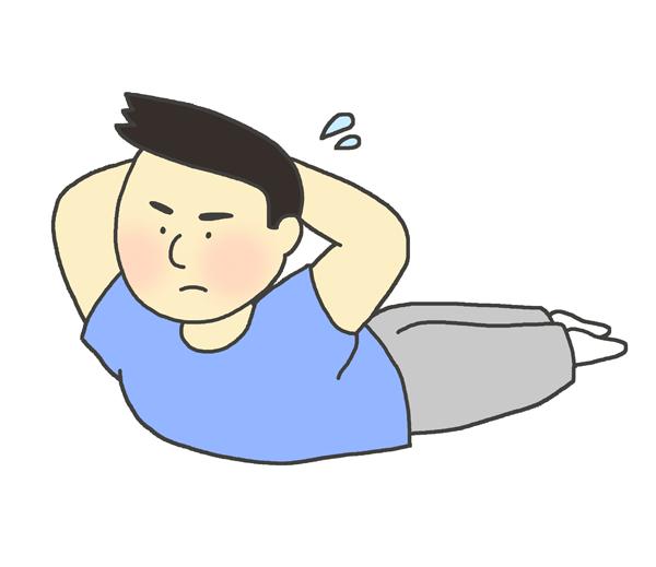 背筋をしている男性のイラスト