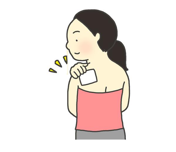 肩に湿布を貼っている女性のイラスト