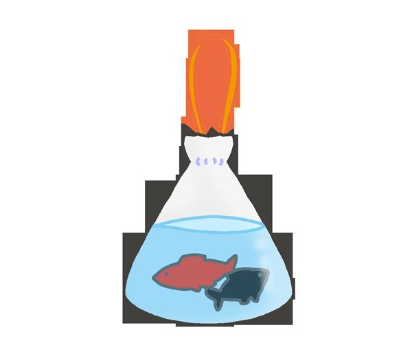 金魚すくいの持ち帰り袋のイラスト
