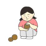 泥団子を作る女の子のイラスト
