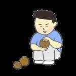 泥団子を作る男の子のイラスト