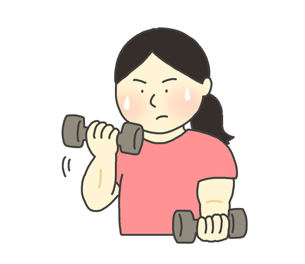 ダンベル運動をする女性のイラスト