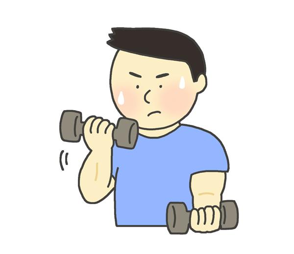 ダンベル運動を行う男性のイラスト