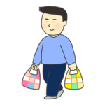 マイバッグを持つ男性のイラスト