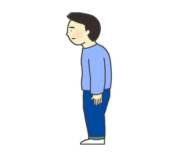 猫背の男性のイラスト