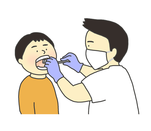 歯科健診を受けている子供のイラスト
